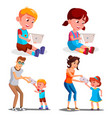 children s gadget dependence father vector image vector image