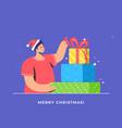christmas gifts unpacking and xmas celebration vector image