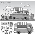 coffee truck on street line monochrome vector image