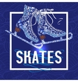 Decorative ice skates doodle stile icon vector image vector image
