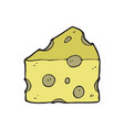 digitally drawn cheese design hand drawing style vector image