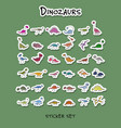 dinozaurs stickers collection for your design vector image