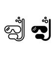 diving mask line and glyph icon scuba mask vector image