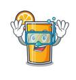 diving orange juice character cartoon vector image vector image