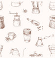 elegant seamless pattern with tools for coffee vector image