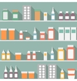 Flat style medical pharmaceutical bottles glasses vector image
