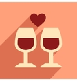 Flat web icon with long shadow wine glasses vector image vector image