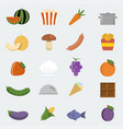 food icons set in flat style vector image