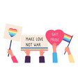 gay parade placards hands holds rainbow flags vector image