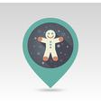 Gingerbread man Christmas flat pin map icon vector image vector image