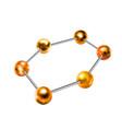glossy golden balls in hexagon shape abstract vector image