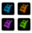 glowing neon hand truck and boxes icon isolated vector image vector image