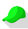 green baseball cap icon flat style vector image vector image