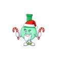 green chemical bottle humble santa having candies vector image vector image
