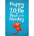 Happy 2016 Year of the Red Monkey Funny cartoon vector image vector image