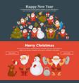 happy new year 2018 or christmas santa snowman vector image vector image