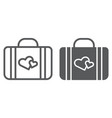 honeymoon line and glyph icon briefcase and love vector image vector image