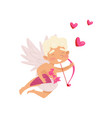 joyful angel of love in flying action cupid with vector image