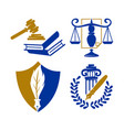 law justice firm logo book balance shield design vector image