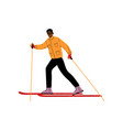 man on skis male african american athlete vector image