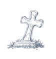 medieval crooked stone cross over grave sketch vector image vector image