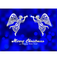 Merry Christmas blue background with silver angel vector image