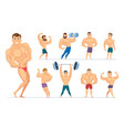 muscular man gym characters sport people making vector image vector image