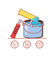 paint roller with home repair icons vector image