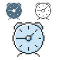 pixel icon alarm clock in three variants fully vector image
