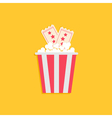 Popcorn Box and Two Tickets with stars Cinema vector image vector image