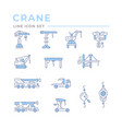 set color line icons crane lifts winches vector image