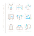 set of justice icons and concepts in mono thin vector image