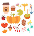 set of sutumn harvest and sweet food vector image vector image
