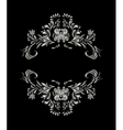 Silver ornament on black background vector image vector image