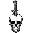 skull stabbed dagger vector image vector image