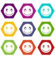 smiling emoticon set color hexahedron vector image