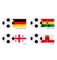Soccer Ball with Germany Ghana Georgia and Gibra vector image vector image