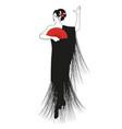 spanish woman dressed in fringed shawl wearing vector image