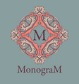 vintage graceful monogram design template vector image