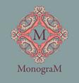 vintage graceful monogram design template vector image vector image