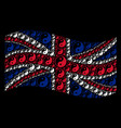 waving great britain flag mosaic of yin yang items vector image
