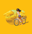 young female standing with bicycle at park vector image