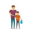 young man with boy shopping icon vector image