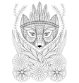 Zentangle wild fox with indian war bonnet in grass vector image vector image