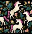seamless pattern with beautiful unicorns magic vector image