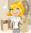 Cute girl with a book in office idea inspiration vector image