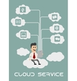 Businessman enjoying cloud computing vector image