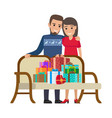 couple and bunch of gifts christmas vector image