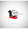 10 years anniversary logo with ribbon and hand vector image vector image