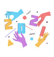 2021 with flat cartoon numbers and human hands vector image vector image